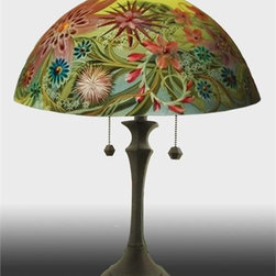 Barthell, Jamie - Le Jardin Reverse Hand Painted Glass Table Lamp - This beautiful hand painted glass table lamp shown here in the Le Jardin design, will make a stunning addition to any room. Each piece is an original work of art that is signed and numbered, and includes a certificate of authenticity