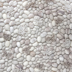 Blooming Ice Runner Rug 2.5' X 4.5' - Bring a calming element of river rocks into your living room or bedroom with this handwoven rug. Rocks and icicles have been felted from 100 percent wool to create a peaceful rug or art piece. Hang it on a wall or use it as an area rug for a serene accent in your home.