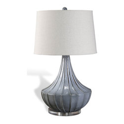 Interlude Home - Yoren Ribbed Lamp - Smooth curves, soft color. This graceful fluted lamp in blue-gray is the perfect accompaniment to your nightly reading. Turn it on and curl up in your favorite easy chair.