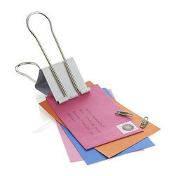 Poppin® White Jumbo Clip - Clamp down on desk clutter with this giant version of the old-school office clamp. Sturdy metal clip with a white finish and folding handles is flexible enough to grip a 2-inch stack of memos, bills, invitations or a manuscript of up to 300 pages. It also can stand upright to display a photo, note or postcard. We've partnered with the modern design mavens at Poppin for our curated collection of desk accessories—each a testament to their mission of creating beautiful everyday objects that blend work and life.