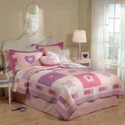 Pem America Spring Hearts Bedding Set - Soft pinks, purples, and whites blend together beautifully on the Pem America Spring Hearts Bedding Set. Decorated with hearts, butterflies, and flowers, this sweet quilt set is made from 100% cotton with a warm 90% cotton/4% polyester/1% other fiber fill. Bedding Set Components: Twin: quilt, 1 sham Full/Queen: quilt, 2 shams Quilt Dimensions: Twin: 86L x 68W inches Full/Queen: 86L x 86W inches About Pem America Makers of high quality handcrafted textiles, Pem America Outlet specializes in bedding that enhances your comfort and emphasizes the importance of a good night's rest. Comforters, quilts, pillows, and other items for the bedroom are made with care and craftsmanship by Pem America. Their products cover a wide range of materials, styles, colors, and designs, all made with long-lasting quality construction and soft, long-wearing materials. Details like fine stitching, embroidery and crochet decorations, and reinforced seaming make Pem America bedding comfortable and just right for you and your family.