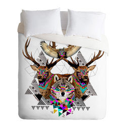 DENY Designs - Kris Tate Forest Friends Duvet Cover - Turn your basic, boring down comforter into the super stylish focal point of your bedroom. Our Luxe Duvet is made from a heavy-weight luxurious woven polyester with a 50% cotton/50% polyester cream bottom. It also includes a hidden zipper with interior corner ties to secure your comforter. it's comfy, fade-resistant, and custom printed for each and every customer.