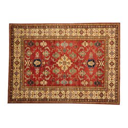 Super Kazak 7'x10' Hand Knotted 100% Wool Rich Red Oriental Rug SH16280 - This collections consists of well known classical southwestern designs like Kazaks, Serapis, Herizs, Mamluks, Kilims, and Bokaras. These tribal motifs are very popular down in the South and especially out west.