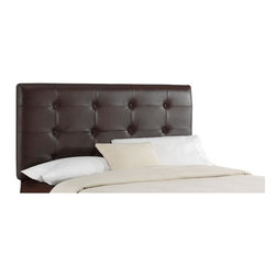Skyline Furniture - Leather Upholstered Twin Headboard w Metal Legs (King) - Choose Size: KingCreate a modern atmosphere in your bedroom when you add this smooth brown leather headboard to the mix. This contemporary piece features 3 rows of buttons that form a tufted surface on the rich upholstery. You'll enjoy relaxing in this bed for years to come. Metal legs. Bonded leather in matte finish. Thick luxurious foam padding. Polyurethane foam cotton. Adjustable height headboard for various mattress size. Adds style to any bedroom. Guarantees product from manufacturer's defects but does not include fabric. One year limited warranty. Made in U.S.A. Made from pine wood frame. Minimal assembly required. Twin: 41 in. L x 4 in. W x 54 in. H. Full: 56 in. L x  4 in. W x 54 in. H. Queen: 62 in. L x  4 in. W x 54 in. H. Cal. King: 74 in. L x  4 in. W x 54 in. H. Reg. King: 78 in. L x  4 in. W x 54 in. HThick, bonded leather will last for years and create a sophisticated landscape.