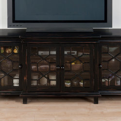 Jofran 052-9 Vanderbilt Media Unit w/ 4 Doors & Hexagonal Fret Work in Antique B