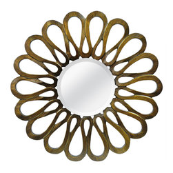 MCS Industries - Flower Petal Bronze Round Mirror - Admire your reflection in this inventive round mirror. The border is inspired by the recognizable outline of a freshly blossomed flower,and the bronze metal finish gives an elegant addition that'll bring character to any indoor wall.