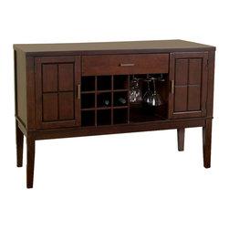 Alpine Furniture - Havenhurst Server with Wine and Glass Rack - Havenhurst Server with Wine and Glass Rack