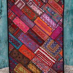 Handmade, Fair Trade Tapestry Wall hangings - Fabulous Fair Trade, Handmade Vintage Kuchi Wall Hangings from Pakistan. Each is absolutely unique, but all are made from Bright Earth Tone, Cotton Vintage Patches. Approx. 42 x 64 inches. Backing of scrap fabric and even the import tags are handmade. Tabs for hanging,  $89.50.