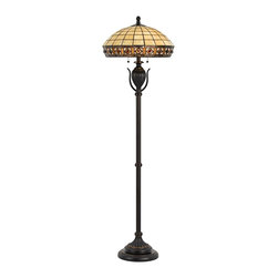 "Cal Lighting - Arts and Crafts - Mission Tawny Amber Tiffany-Style Floor Lamp - A distinctive diamond pattern graces the gallery of the Tiffany-style shade on this dark bronze floor lamp from the Tawny Amber collection. Double pull chain switches provide easy lighting control. Resin construction. Dark bronze finish. Tiffany-style glass shade. Double pull chain switches. Two maximum 60 watt bulbs (not included). 61"" high. Shade measures 18"" in diameter x 8 1/2"" high. Base is 10 1/2"" wide.  Cast resin base in dark bronze finish.  Tiffany-style glass shade.  Double pull chain switches.  Two maximum 60 watt bulbs (not included).  From the Cal Lighting collection of floor lamps.  61"" high.  Shade measures 18"" in diameter x 8 1/2"" high.  Base is 10 1/2"" wide."