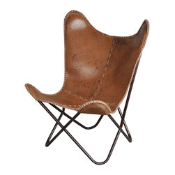 Fashion N You - Anti Brown Leather Butterfly Chair - The classic leather butterfly chair is made one at at time, hand cut and sewn with a coarse, heavy-duty thread. This chair is the perfect addition to liven up any room in your home.