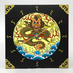 Oriental Unlimted - Dynasty Sea Dragon Wall Clock - 9 inch square oriental wall clock with striking sea dragon design. Battery not included