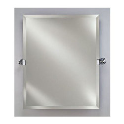 Afina - Radiance Frameless Rectangular Wall Mirror (Polished Chrome) - Color: Polished Chrome. Includes two 4.5 in. decorative tilt mounting brackets. 1 in. beveled edge. Can be hung vertically. Brackets project 3.25 in. of the wall. Warranty: One year. Brackets made from solid brass. Mirror: 24 in. W x 30 in. H. Mirror w brackets: 28.5 in. W x 30 in. H