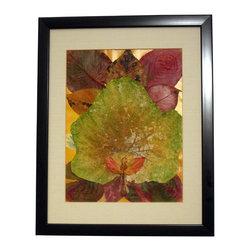 "Autumn Harmony, Oshibana Art - Oshibana artwork in a 12"" x 15"" black frame."
