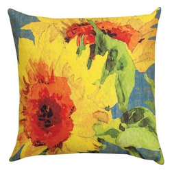 Pair of `Teal Sunflower` Floral Print Indoor / Outdoor Throw Pillows - This pair of 18 inch by 18 inch woven throw pillows adds a wonderful accent to your home or patio. The pillows have ClimaWeave weatherproof exteriors, that resist both moisture and fading. The pillows feature the same `Teal Sunflower` watercolor floral print, by artist Martha Collins, on both front and back. They have 100% polyester stuffing. These pillows are crafted with pride in the Blue Ridge Mountains of North Carolina, and add a quality accent to your home. They make great gifts for flower or bird lovers.