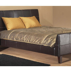 """Modus - Torino Panel Bed - Our Upholstered Bedroom Collection offers a range of luxurious upholstered bed frames and accessories designed to match any contemporary decor. The Upholstered Bedroom Collection is constructed from quality hardwood frames and features center leg supports and discreet metal-to-metal siderail brackets. All headboard backs are fully upholstered with leather match for use against a wall or floating in a room. Wood components are stained to match a wide range of wood finishes. Features: -Luxurious padded leatherette upholstery.-Platform bed slat system for use with or without a box spring.-Stylish contemporary design.-Constructed from Birch wood, leatherette upholstery, flame retardant polyurethane foam.-Contrast stitching accentuates the contemporary shape of the bed.-Powder Coated Finish: No.-Gloss Finish: No.-Finish: Chocolate.-Non Toxic: No.-Scratch Resistant: No.-Mattress Included: No.-Headboard Storage: No.-Footboard Storage: No.-Underbed Storage: No.-Slats Required: Yes -Slats Included: Yes..-Center Support Legs: Yes.-Adjustable Headboard Height: No.-Adjustable Footboard Height: No.-Wingback: No.-Trundle Bed Included: No.-Attached Nightstand: No.-Cable Management: No.-Built in Outlets: No.-Lighted Headboard: No.-Distressed: No.-Bed Rails Included: Yes.-Collection: Torino.-Eco-Friendly: No.-Recycled Content: No.-Canopy Frame: No.-Jewelry Compartment: No.-Swatch Available: No.Specifications: -FSC Certified: No.-EPP Compliant: No.-CPSIA or CPSC Compliant: No.-CARB Compliant: No.-JPMA Certified: No.-ASTM Certified: No.-ISTA 3A Certified: No.-PEFC Certified: No.-General Conformity Certificate: No.-Green Guard Certified: No.Dimensions: -Overall Height - Top to Bottom (Size: California King): 41"""".-Overall Width - Side to Side (Size: California King): 75"""".-Overall Depth - Front to Back (Size: California King): 94"""".-Overall Product Weight (Size: California King): 214 lbs.Assembly: -Metal to metal bed rail fittings for easy assembly and long term"""