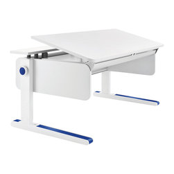 Moll - Champion Kids' Adjustable Desk, Front Up - Ergonomically designed for right or left handed children, this adjustable desk grows with your child for lasting value. A split desktop offers a large adjustable work area that tilts to a comfortable angle for reading, writing and drawing and a fixed area for supplies, books and electronics. A patented, child-safe, yo-yo style pulley system effortlessly raises or lowers the desk height to the perfect level for your child. From a tiny tot to a towering teenager, this is the only desk your child will need.