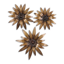 Uttermost - Golden Gazanias Metal Wall Art, Set of 3 - Sculptural art is a great way to mix mediums in to your growing collection. Hang these three handmade metal flowers above your mantel in place of a traditional mirror or painting. The gold leaf detailing will give your room a touch of warmth and glamour.