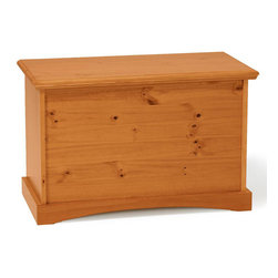 Chelsea Home - Rectangular Storage Box - Rustic style. Hand finished stain with three step process to compliment natural wood grain. Amble storage space for toys and other bedroom items. Constructed for strength and durability. Warranty: One year. Made from solid pine wood. Honey finish. Made in Brazil. No assembly required. 30 in. L x 13 in. W x 18 in. H (30 lbs.)