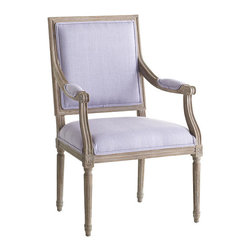 Chateau Armchair, Lavender - If anything could be better than a French chair, it's a French chair covered in lavender. And this shade of wood keeps it from feeling too formal.