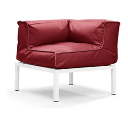 Zuo Modern - Zuo Modern Copacabana Outdoor Corner Sofa / Chair X-318107 - The Copacabana collection is designed for funky versatility. This set has modular pieces of an armless chair, a corner armchair, an ottoman, and a table. The cover is made from a completely waterproof and UV resistant polyester fiber. The frame is made from an epoxy coated aluminum. The fill is 100% pure polystyrene beads. All the cushions can be attached via durable oversize zipper. Have fun with the cushions and throw them in the pool...they will float!