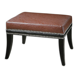 Uttermost - Detrick Leather Ottoman - Although this ottoman could be paired with the Detrick Leather Armchair, it can boldly stand on its own, too. As extra seating in your space, it's both comfortable and handsome. It's all in the bones.