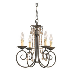 Crystorama - Soho 4-Light Interior Mini Chandelier - The charming Soho Collection offers chandeliers with just enough crystal flair to work with any environment. The delicate dressings of our crystal accents coordinate well with the soft curves of this simple chandelier.