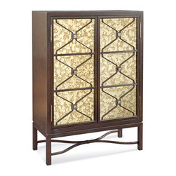Bassett Mirror Company - Bassett Mirror Hampton 58 Inch Bar in Dark Espresso Cherry - The Bassett Mirror Hampton bar cabinet is an exquisite piece for living or dining areas. Stock the inside with stemware, bottles and other accessories and it will become an impressive server for entertaining on the spur of the moment. Cabinetry incorporates Asian flair with dual doors featuring vintage mirror insets as an underlayment for divided panels and geometric insets that create a continuous flow from top to bottom. An open metal base with post legs and a shapely stretcher complements modular styling. Designed to save space, this freestanding bar brings sophisticated looks to smaller rooms. - T2619-475.  Product features: Belongs to Hampton Collection by Bassett Mirror Company ; Traditional Style ; 2 Mirrored Glass Doors. Product includes: Bar (1). 58 Inch Bar in Dark Espresso Cherry belongs to Hampton Collection by Bassett Mirror Company.