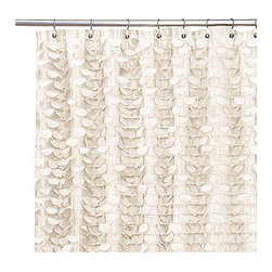 Gigi Ivory Shower Curtain - This shower curtain is unabashedly girly with all those ruffles and charm.