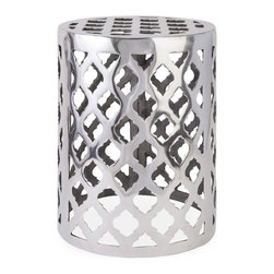 Imax - iMax Nichole Aluminum Garden Stool X-29906 - The modern bold pattern featured on the Nichole aluminum garden stool adds a contemporary shine to any display.