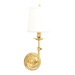 Hudson Valley Lighting - Hudson Valley Lighting 171 Logan 1 Light Wall Sconce with Linen Shade - Logan puts a functional twist on the traditional cup-and-candlestick style lamp. A cast thumbscrew adjustment allows the lamp to be raised or lowered-making Logan is a fine choice for the bedside. The beauty of superior construction shows in the curvy depth of the cast metal backplate.Dimensions: