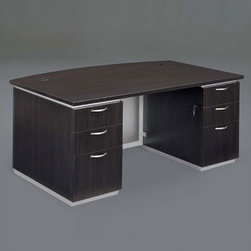 """DMi - Pimlico 72"""" W Bow Front Executive Desk (Fully Assembled) - Features: -Bow front desk.-Chasis is made of wood.-Nickel drawer pulls.-Satin aluminum bases and framed frosted glass modesty panels and doors.-Edges with a slight recessed angle and tops separated from chassis.-Box / box / file drawer per pedestal.-Pencil tray in top box drawers.-Grommet in corners of top.-Kneehole locking pedestals.-Pimilico collection.-Distressed: No.-Collection: Pimilico.Dimensions: -Dimensions: 30'' H x 72'' W x 36'' D.-Overall Product Weight: 392 lbs."""