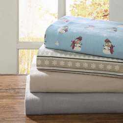 """Premier Comfort - Premier Comfort Heavenly 150GSM Flannel Sheet Set - The Heavenly Flannel Sheet Set will keep you warm and cozy all night. Made from 100% cotton and brushed on both sides, this flannel sheet set is soft to the touch and is perfect for cold nights. The sheet set features an all over printed tan and ivory snowflake motif that creates a festive and lively design. 100% cotton, 150grams 2"""" single needle hem on flat sheet and pillowcases single brushing on front and back"""