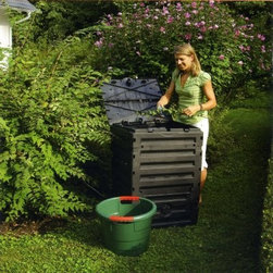 Garantia Eco-Master Compost Bin - 80 Gallon - Do the environmentally friendly thing with your table scraps and yard waste - toss them into the Garantia Eco-Master Compost Bin - 80 Gallon so they can be transformed into garden-worthy compost. This bin is crafted of 100% recycled plastic and is designed with ideal ventilation for achieving quality compost. The large lid has wind protection and there are two lower doors. This bin takes up little space so it's also a great choice for having two bins. Two mid-size bins are better than one extra large. It assembles easily without tools.About GARANTIASpecializing in rainwater harvesting, GARANTIA offers everything you need for professional rainwater harvesting. They offer thoroughly thought-out systems that are well-planned down to the smallest detail and are idea for do-it-yourself installations. GARANTIA also produces septic tanks for use in places where cost-effect connection to the drain system isn't possible, and composters to reduce volumes of waste and delight hobby gardeners with fresh humus.