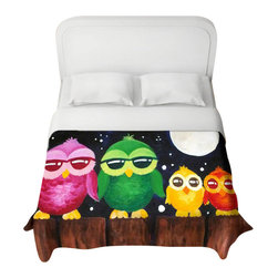 DiaNoche Designs - Owls on a Fence Black Duvet Cover - Lightweight and super soft brushed twill duvet cover sizes twin, queen, king. Cotton poly blend. Ties in each corner to secure insert. Blanket insert or comforter slides comfortably into duvet cover with zipper closure to hold blanket inside. Blanket not included. Dye Sublimation printing adheres the ink to the material for long life and durability. Printed top, khaki colored bottom. Machine washable. Product may vary slightly from image.