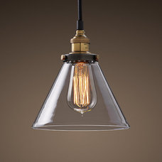 Glass Funnel Filament Pendant Aged Steel | Utility Pendants | Restoration Hardwa