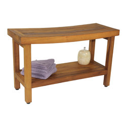 """Aqua Teak - 30"""" OptiArea Teak Shower Bench - From the Sumba Collection - This OptiArea™�� space saving teak shower bench is the ideal size for a spa-style teak bath bench and includes a shelf for extra storage space. The compact teak shower seat has amazing versatility and is elegant enough to be used indoors as a decorative end table or teak shower stool. Our sustainably harvested, environmentally friendly teak wood is naturally water resistant and extremely durable, making this teak bench perfect for the shower, pool deck, or patio. We are so confident that you will love your teak shower bench that we offer a 30 day satisfaction guarantee and 5 year warranty! (Some assembly required) Dimensions: 20""""w x 18""""h x 12""""d"""