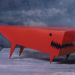 Angry Dog Coffee Table, Red by Bruce Gray - I like this table with bite. It's so cool, and it just may be menacing enough to keep your family from cluttering it up. Fabricated in steel and painted with powder coating, it can be customized in your choice of color.