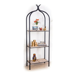 Mathews & Company - Milan Double Etagere - Like the Milan Single Etagere, the Milan Double Etagere is an American take on an old French tradition. Beautifully display knick knacks, flowers, decorative time pieces, or anything else you like on this ��_tag��_re��_s double-wide shelves. At a full 24 inches wide, the double ��_tag��_re affords double the space to exhibit both your little treasures and the shelves themselves. Customize your double ��_tag��_re by choosing between copper, marble, and glass shelving materials, then matching your choice with an appropriate iron finish. Natural black, rust, aged pewter, or aged bronze are all available to help make your Milan Double Etagere uniquely yours.