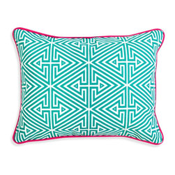 Jonathan Adler - Jonathan Adler Bobo Triangle Labyrinth Throw Pillow - Mod patterns mix with crafty fabrications to make our Bobo pillow collection a fresh update for any home. Each color represents a different layer of hand printing applied to the cotton canvas by skilled artisans, creating a multi-layered luxe look on both sides of the pillow. Throw a gaggle together for a rich hippie look, or add one or two to your (let's face it) blasé pillowscape for some strategic pop.• screen printed 100% cotton canvas• feather/down insert• imported