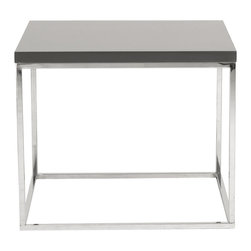 Eurostyle - Teresa Side Table-Gray/Stainless - What's not to love about this elegant side table? The lacquered top sits on a chromed steel base that's easy to clean and beautiful to look at. The quiet presence of the design makes this table perfect for any room in the house.