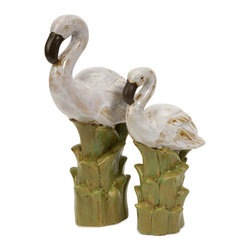 iMax - Powell Coastal Birds, Set of 2 - The set of two ceramic Powell birds are at home in tropical inspired decor. They feature an antiqued glaze, giving them color and personality.