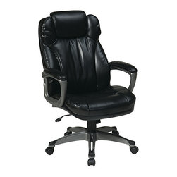 Office Star - Work Smart ECH Series ECH85807-EC3 Executive Eco Leather Chair with Padded Arms - Executive Eco leather chair with padded arms, coated base and built in adjustable headrest. Titanium coated frame with black Eco leather. 360 degree seat swivel. One touch pneumatic seat height adjustment. Locking tilt control with adjustable tilt tension. Padded arms.