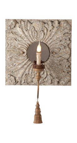 Kathy Kuo Home - Pair Zottegem Hand Carved Iron Tassel Square Tile Wall Sconces - A large back plate with hand carvings and distressed finish with gold flecks. One iron arm with a decorative tassel holds a candelabra bulb that glitters on the distressed mirror. Price marked is for a pair.
