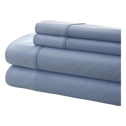 Notting Hill Oxford 4-piece Embossed Sheet Set  Cal. King Light Blue - The Kensington Hotel Collection Embossed Microfiber Sheet Set will give you soft and lasting comfort for a good night's sleep. These easy care brushed microfiber soft sheet sets add a luxurious touch, softness and comfort to any bed. They Reduce ironing time by resisting wrinkles.