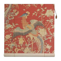 Oriental Unlimted - Red Phoenix Bamboo Blinds (72 in.) - Choose Size: 72 in.With tail feathers unfurled, the phoenix featured on our lovely bamboo roll-up blind will be a striking and colorful addition to any decor. Available in your choice of sizes, the blind is made of matchstick bamboo and is finished in red with gold tone scrolled accents for added visual interest. Feature a Red background with a magnificent image of a phoenix. Easy to hang and operate. 24 in. W x 72 in. H. 36 in. W x 72 in. H. 48 in. W x 72 in. H. 60 in. W x 72 in. H. 72 in. W x 72 in. H