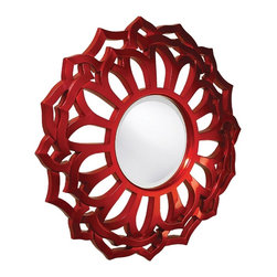 Howard Elliott - Casey Mirror - Our Casey Mirror is a round piece with a Contemporary styled sunflower frame. It is finished in a brilliant metallic red lacquer.