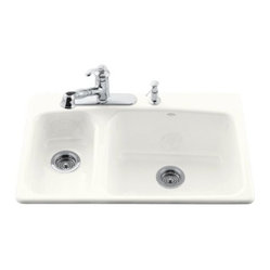 KOHLER K-5924-4-96 Lakefield Self-Rimming Kitchen Sink with Four-Hole Faucet Dri