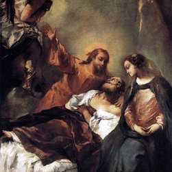"""Giovanni Antonio Guardi The Death of Joseph - 14"""" x 28"""" Premium Archival Print - 14"""" x 28"""" Giovanni Antonio Guardi The Death of Joseph premium archival print reproduced to meet museum quality standards. Our museum quality archival prints are produced using high-precision print technology for a more accurate reproduction printed on high quality, heavyweight matte presentation paper with fade-resistant, archival inks. Our progressive business model allows us to offer works of art to you at the best wholesale pricing, significantly less than art gallery prices, affordable to all. This line of artwork is produced with extra white border space (if you choose to have it framed, for your framer to work with to frame properly or utilize a larger mat and/or frame).  We present a comprehensive collection of exceptional art reproductions byGiovanni Antonio Guardi."""