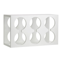 Lacquer Wine Rack - This is such a great wine holder; it's small enough to fit on a bar or countertop, and it can easily be stored away in a cupboard. Its sleek and simple design goes with any decor, and it has a bit of playfulness to it that I love.