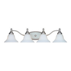 Designers Fountain - Designers Fountain Savon Traditional Vanity / Bathroom Light X-WP-4774 - Updated finishes create a modern touch to this Designers Fountain bathroom vanity light. From the Savon Collection, this traditional bathroom light is ideal for medium to large sized bathroom mirrors thanks to its four light heads and long frame. The Pewter finish and faux alabaster glass shades compliment the traditional detailing, pulling this look together.
